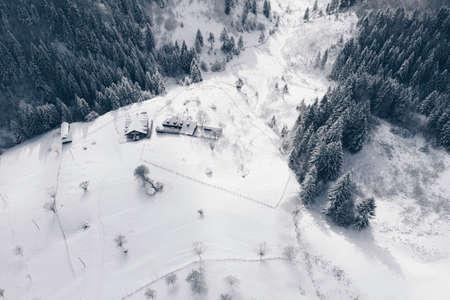 Romania winter landscape aerial view