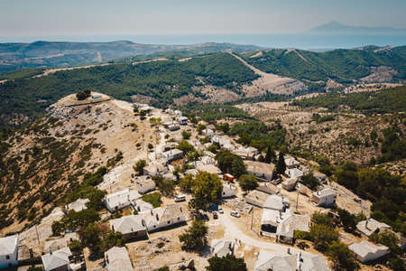 Castro Village in the middle of Thassos Island, Greece. Traditional peasants village and one of the oldest on the island