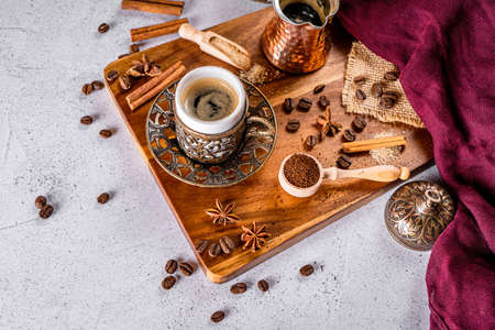 Detail of a coffee drink oriental style in a restaurant Stock Photo