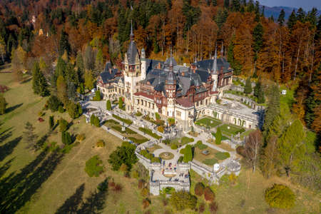 Panorama of Peles Castle, Sinaia, Romania. Aerial photography