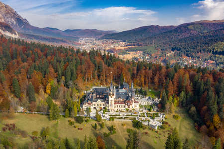 Aerial view of Peles Castle in Sinaia, Romania Publikacyjne