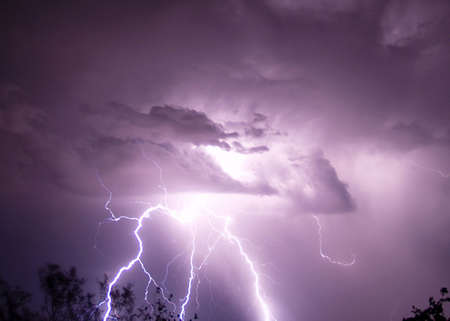 monsoon: A late night lightning storm during the 2006 Arizona Monsoon. Stock Photo
