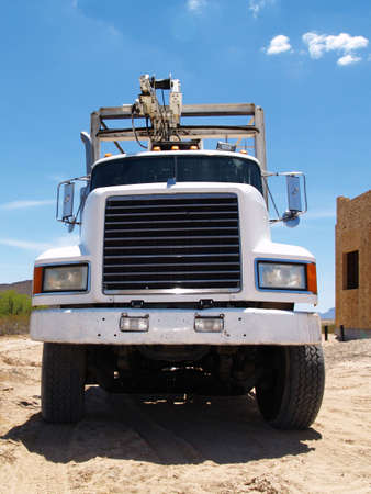 septic: A large truck used to deliver septic tanks. Stock Photo
