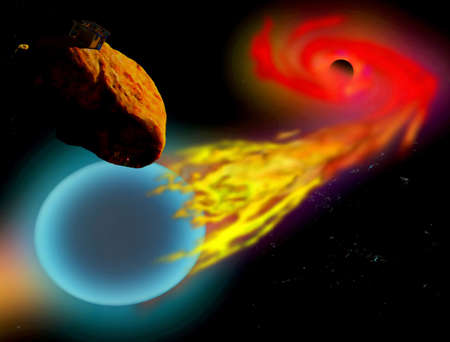 devouring: A digitally airbrushed painting depicting a Black Hole devouring a nearby blue star with an asteroid nearby supporting an observation post researching the phenomenon. Illustration