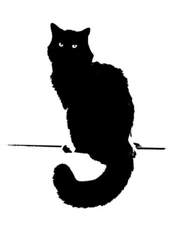 halloween cat: A simple bitmap illustration depicting a black cat symbolizing Halloween at Midnight.