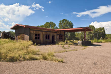 ghostly: The ghostly remains of a Gas Station at a resort in Arizona called Seneca Lake.