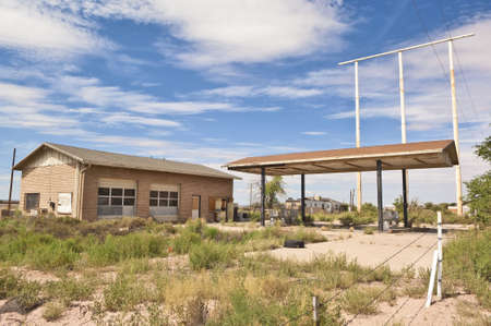 The ghostly remains of a Gas Station in Arizona along the old Route 66. photo