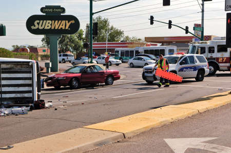 A vehicle accident near the intersection of Cave Creek Road and Thunderbird Road in Phoenix AZ on the date of August 31st, 2011.