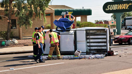 rollover: A Pickup Truck rollover accident near the intersection of Cave Creek Road and Thunderbird Road in Phoenix AZ on the date of August 31st, 2011.