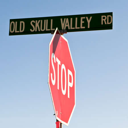 dwell: An old road sign in the town of Skull Valley Arizona indicating where old bones dwell.