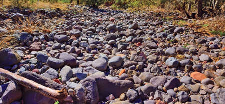 A dry creek bed near Sedona Arizona that is filled with rock, stones and small boulders. photo