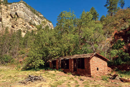 ghostly: The ghostly remains of a famous Mayhew Lodge near Sedona Arizona. The lodge was originally built back in 1870 and operated until 1968. The US Forest Service bought the property in 1968.