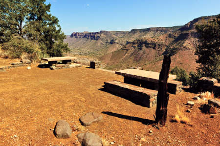 unmarked: An old rest and picnic area unmarked trail off of U S Highway 60 along the Salt River Canyon in Arizona