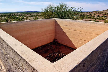 sanitarium: The remains of an old concrete cistern in the ghost town of Sundad Arizona