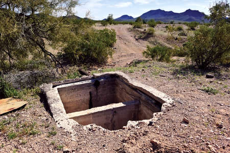 septic tank: The remains of an old septic tank in the ghost town of Sundad Arizona