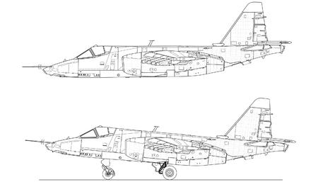 Combat fighter jet. Hi-detail technical illustration. Illustration