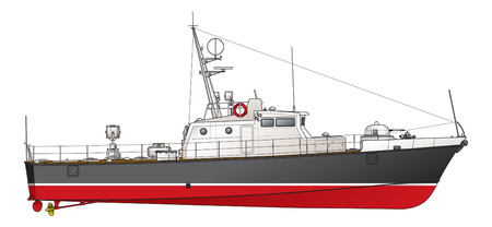 De kleine patrouilleboot. Illustratie.