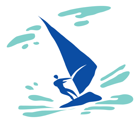 Recreation, sports, activity. Windsurfer in the sea. Pictogram.