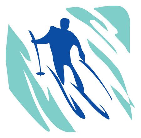 Recreatie, sport, activiteit. Slalom, een man op ski's. Pictogram.
