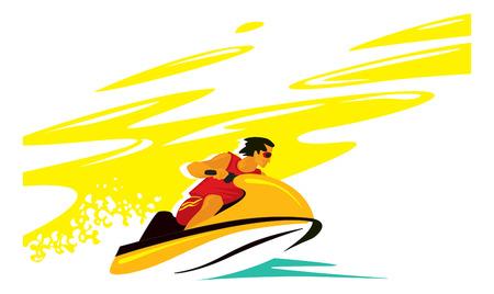 homme dans la mer sur l'aquabike.
