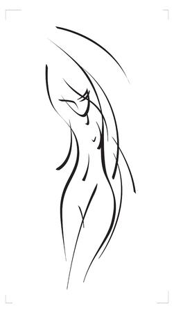 Vector schets van een vrouwelijk figuur.