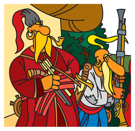 Traditional Ukrainian character. Cossacks with weapons. Vector illustration.