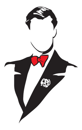 Elegante Herrenanzüge. Vektorbild für Logo und Illustrationen.