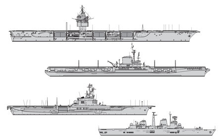 Aircraft carriers. Collection of warships vector silhouettes