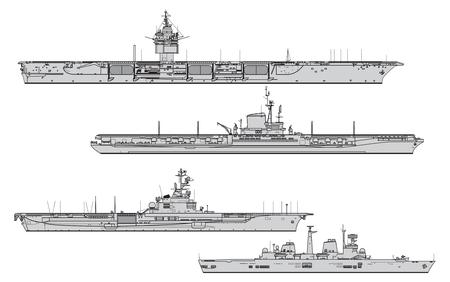 Porte-avions. Collection de silhouettes vectorielles de navires de guerre
