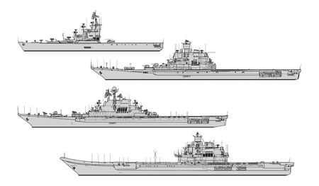 Soviet aircraft carriers. Collection of warships vector silhouettes