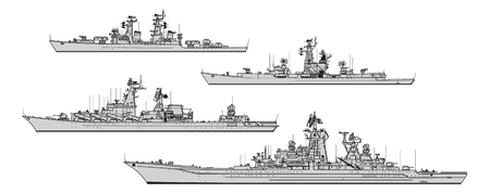 Soviet cruisers. Collection of warships vector silhouettes