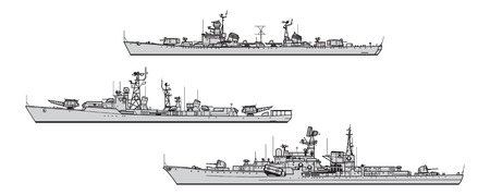 Soviet destroyers. Collection of warships vector silhouettes