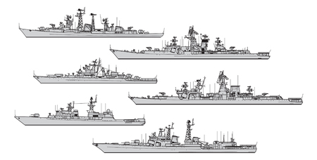 Soviet frigates. Collection of warships vector silhouettes Vektorové ilustrace