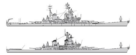 Pancernik amerykański. Kolekcja sylwetki wektor okrętów wojennych