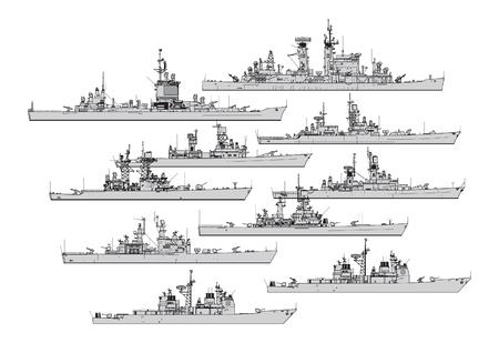 Croiseurs américains. Collection de silhouettes vectorielles de navires de guerre