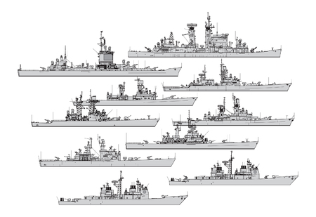 US cruisers. Collection of warships vector silhouettes