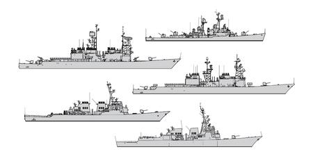 Amerykańskie niszczyciele. Kolekcja sylwetki wektor okrętów wojennych Ilustracje wektorowe
