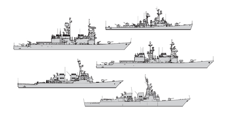 US destroyers. Collection of warships vector silhouettes