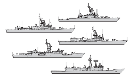 US frigates. Collection of warships vector silhouettes