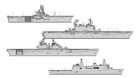 Amerykańskie okręty desantowe. Kolekcja sylwetki wektor okrętów wojennych Ilustracje wektorowe