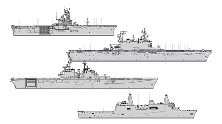 US landing ships. Collection of warships vector silhouettes
