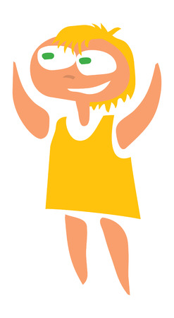 happy girl in yellow dress. vector image for illustration