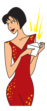 woman in a red dress with a valuable gift. vector image for illustration