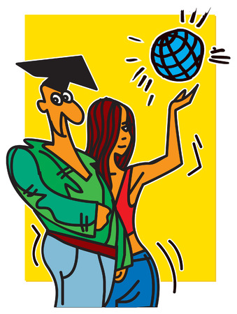 students, boy and girl. vector illustration Ilustrace