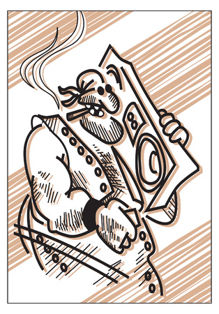 brutal man with boombox. vector illustration