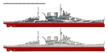 Battlecruiser of the Royal Navy. Çizim