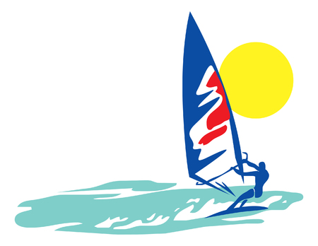 windsurfer in the sea. vector image for illustration