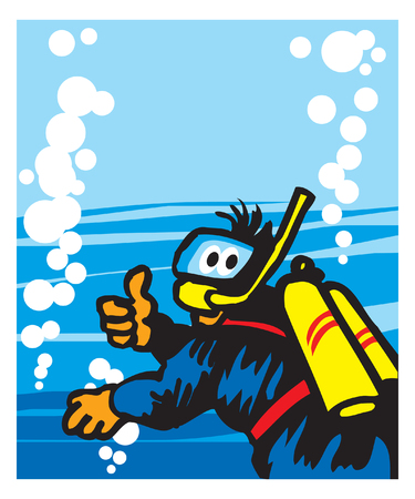 Scuba diving. cheerful diver deep in the sea. vector image for illustration