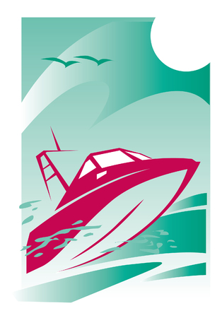 red speed boat in the sea. vector image for illustration