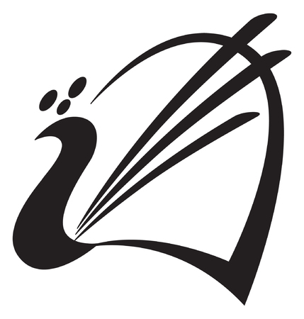 Bird. Stylized image of peacock. Logo template